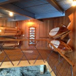 Sawyer SUP Racks and Boards installed in a Lake Tahoe boathouse.