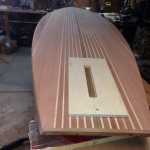 Template for routing fin box in wooden SUP.