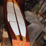 Wooden SUP read for water test.