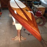 Custom wooden SUP to match a Van Dam wooden boat.